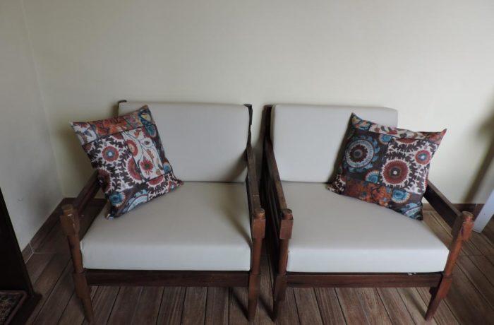 Almofadas Feita  Sob Medida para Poltronas de madeira em  Tecido Courvin Náutico