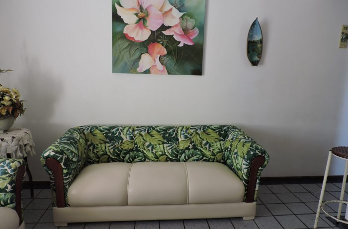 Reforma de Sofá de 3 lugares no tecido Acquablock  Galápagos Verde e Courvin Bege