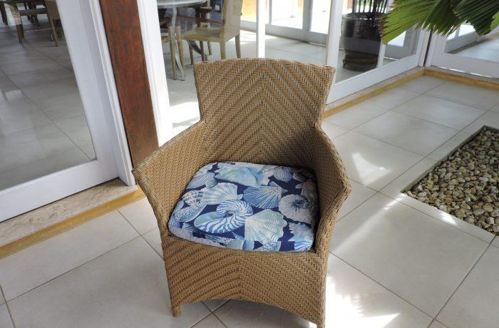 Reforma do Acento da Cadeira  Vime no tecido Acquablock Santorini Azul e Duna Marinho