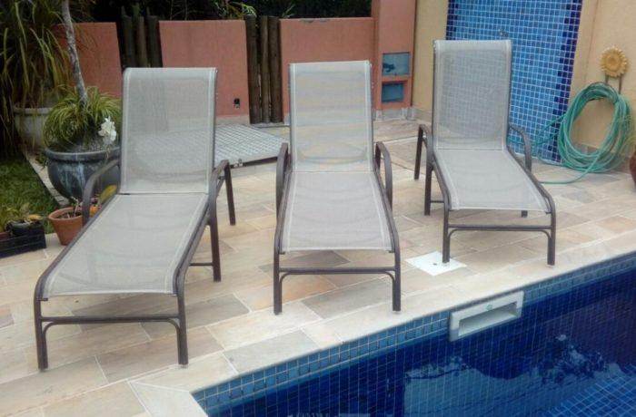 Reforma de Espreguiçadeira de piscina  no tecido de Tela Bertioga -03
